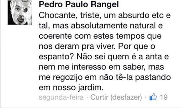 """O ator Pedro Paulo Rangel usou da sua conta no Twitter para criticar as declarações de Caio Castro à Marília Gabriela: """"Anta"""""""