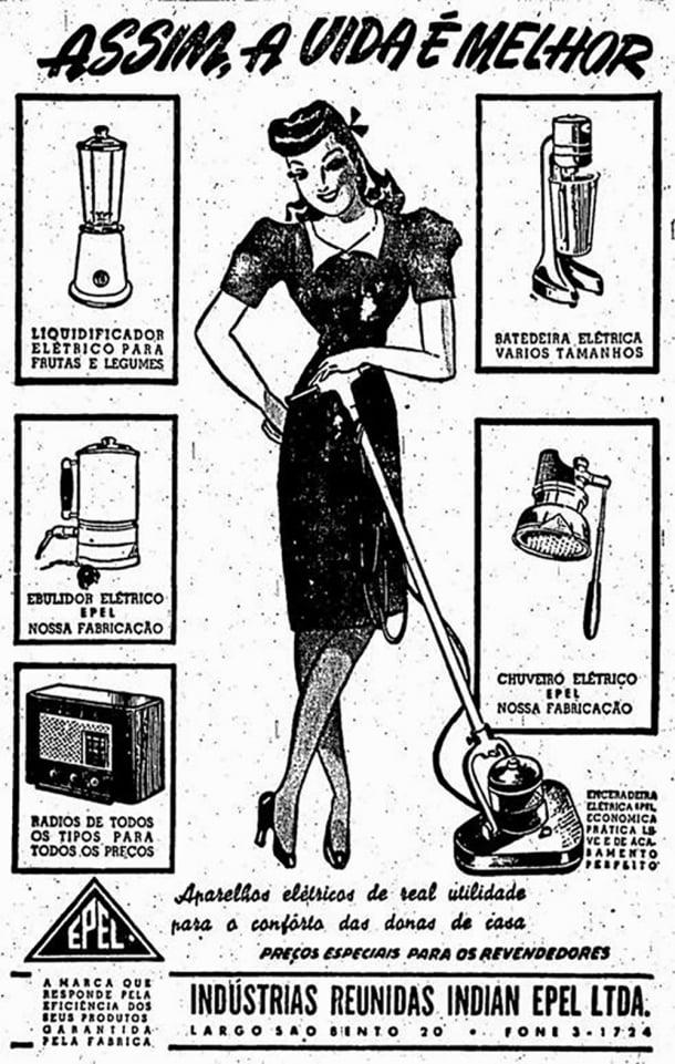 """Em 1947, os eletrodomésticos eram vendidos para """"melhorar"""" a vida das mulheres"""