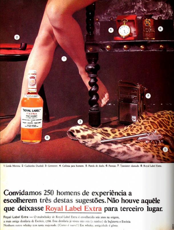 Neste anúncio, a mulher é um entre três objetos a serem escolhidos pelo homem