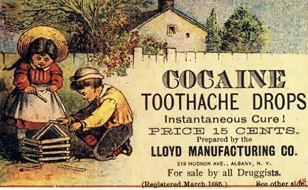 No século 19, cocaína era anunciada como remédio para dor de dente