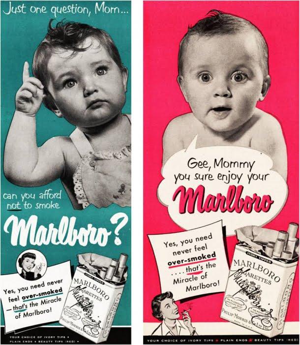 Nesta campanha de uma marca de cigarros, bebês incentivam suas mães a fumarem